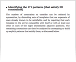 Identifying the 171 patterns [that satisfy 2D constraints]