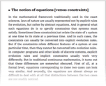 The notion of equations [versus constraints]