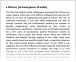 History [of emergence of order]