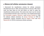 History [of cellular automaton classes]