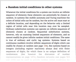 Random initial conditions in other systems