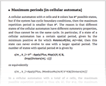 Maximum periods [in cellular automata]