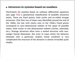 Attractors in systems based on numbers