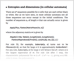 Entropies and dimensions [in cellular automata]