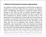 History [of dynamical systems approaches]
