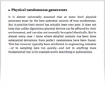 Physical randomness generators