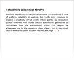 Instability [and chaos theory]