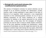 Biologically motivated schemes [for combinatorial optimization]