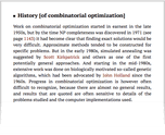 History [of combinatorial optimization]