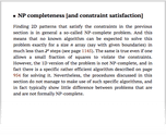 NP completeness [and constraint satisfaction]
