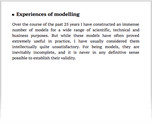 Experiences of modelling