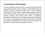 Uncertainties of this chapter