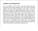 History of crystal growth