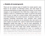 Models of crystal growth