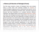 History [of theories of biological form]