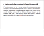 Mathematical properties [of branching model]
