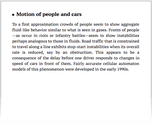 Motion of people and cars