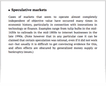 Speculative markets