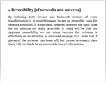 Reversibility [of networks and universe]