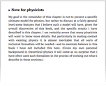 Note for physicists