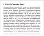 History [of quantum theory]