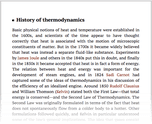History of thermodynamics