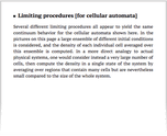Limiting procedures [for cellular automata]