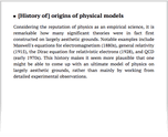 [History of] origins of physical models