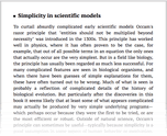 Simplicity in scientific models