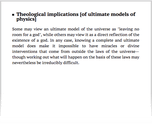 Theological implications [of ultimate models of physics]