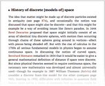 History of discrete [models of] space