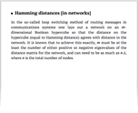Hamming distances [in networks]