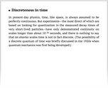 Discreteness in time