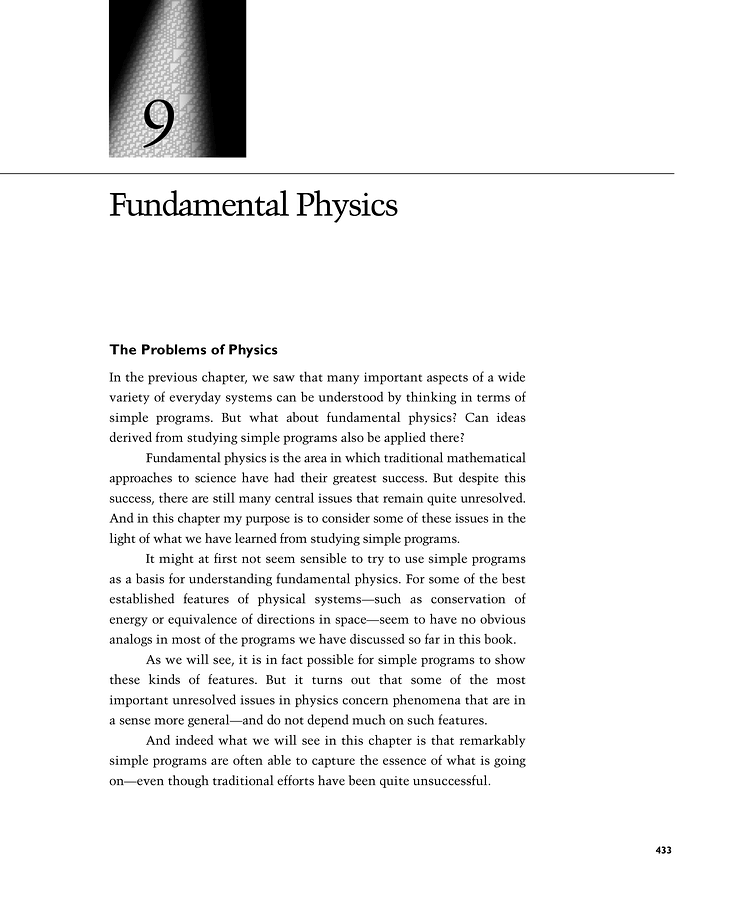 Science Physics From: The Problems Of Physics: A New Kind Of Science
